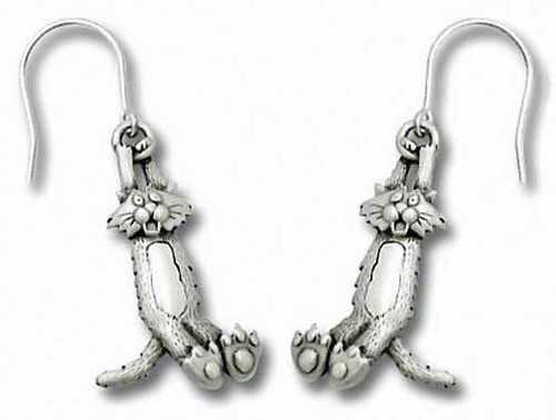 Crazy Swinging Cat Pewter Drop Earrings 1073/2EFP