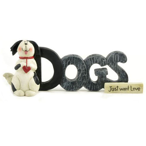 Dogs Just Want Love Figurine Blossom Bucket 123-85479