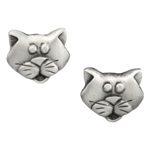Cat Head Face Pewter Earrings 1245EP