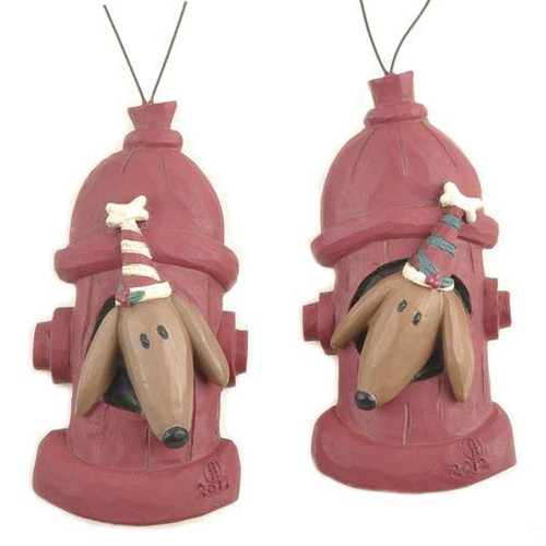 Fire Hydrant Dog Ornaments Set of Two Blossom Bucket 128-51067