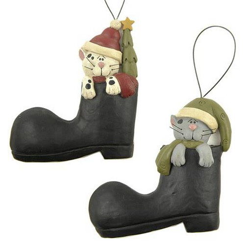 Set of Two Cats in Boots Ornaments Blossom Bucket 138-51498