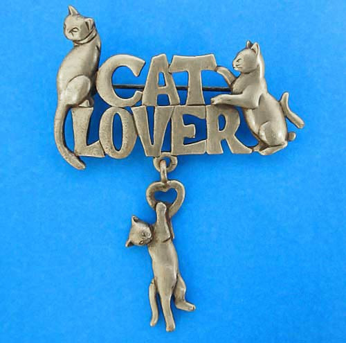 Cat Lover Pin Pewter - 1550PP