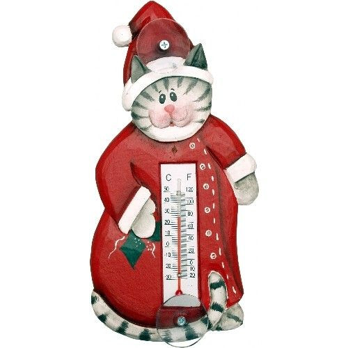 Cat Wood Window Thermometer - Holiday Cat 21704-63