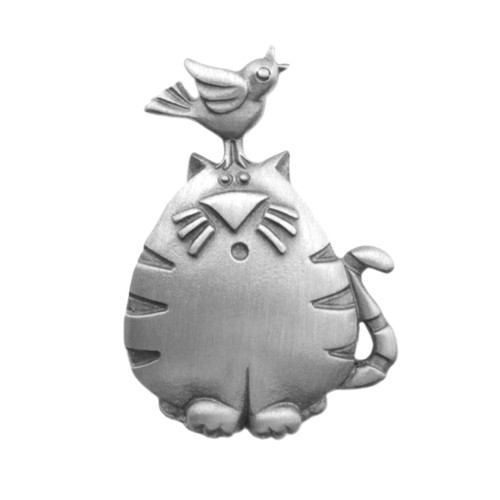 Cat with Bird Lapel Clutch Pin Pewter 2393CP