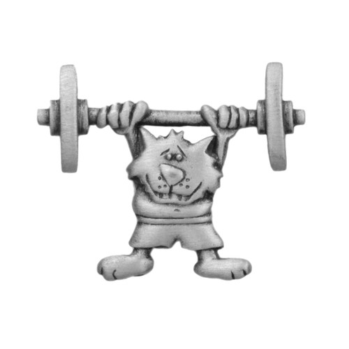 Cat Lifting Weight Lapel Pin - 2411CP