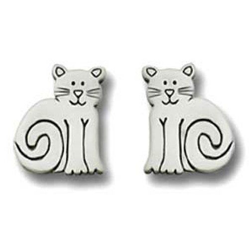 Cat Sitting Pewter Post Earrings 2541EP