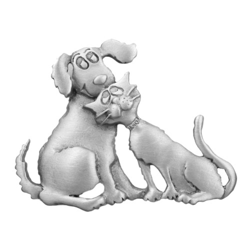 Dog & Cat Loving Pewter Pin 2622PP