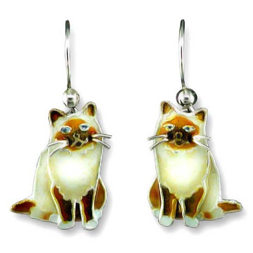 Birman Cat Silver Drop Earrings 29-39-01