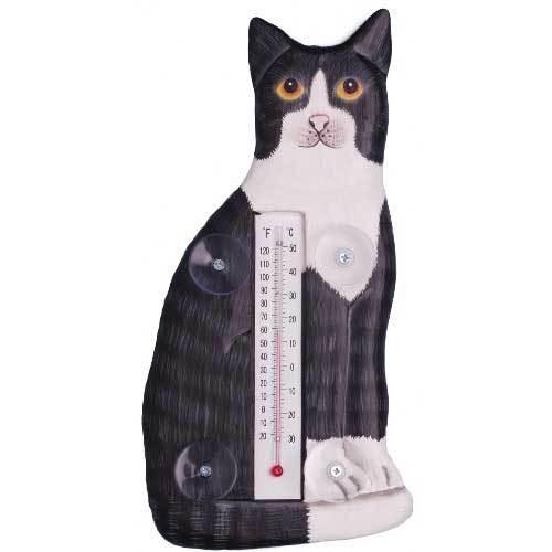 Black White Cat Sitting Large Window Thermometer 31711-93