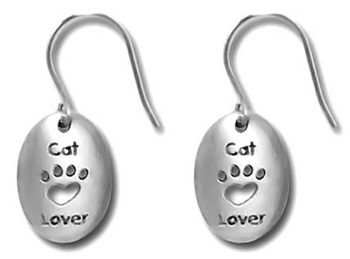 Cat Lover Pewter Drop Earrings 3500EFP