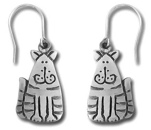 Fat Striped Cat Pewter Drop Earrings 3894EFP