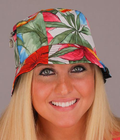 Tropical Flowers Reversible Cotton Hat  - 31432