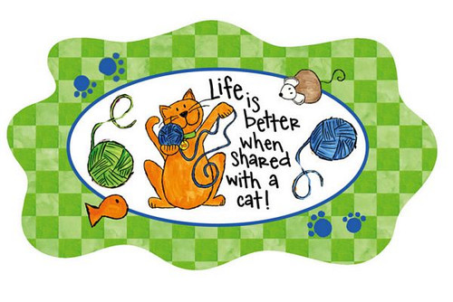 """Cat theme Glass Platter """"Life with Cat"""" - 3FP44184"""