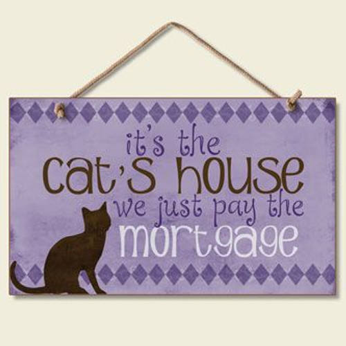 """Cat Wood Sign """"The Cats House"""" - 41-136"""