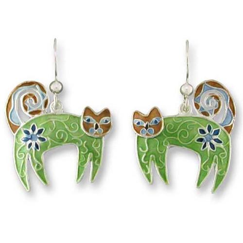 Flowered Feline Sterling Silver Drop Earrings 61-52-01