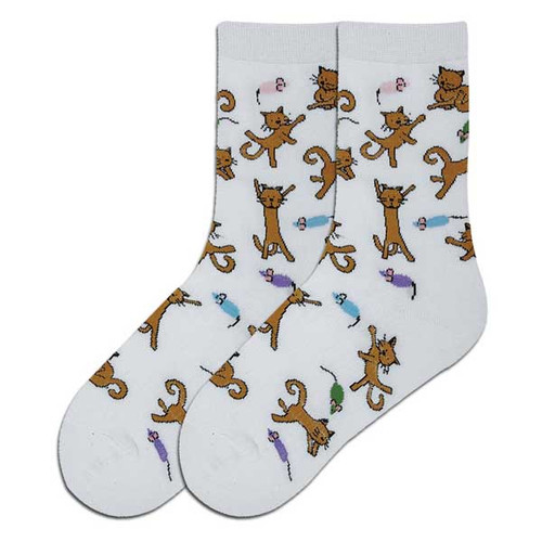 Dancing Cats Socks - White - 61564A-W