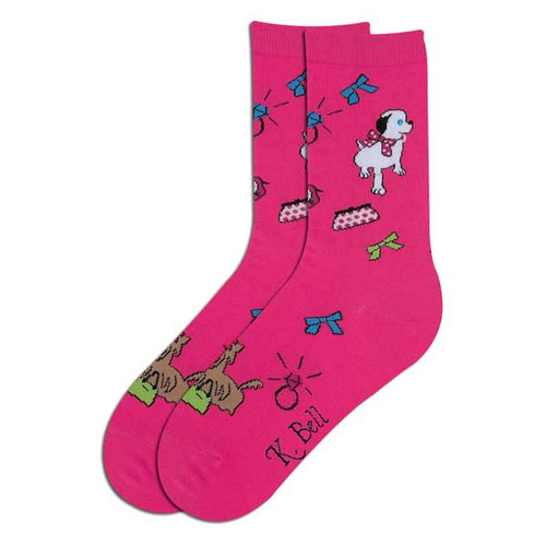 "Dog Socks ""Happy Dog"" Fuchsia 61597F"