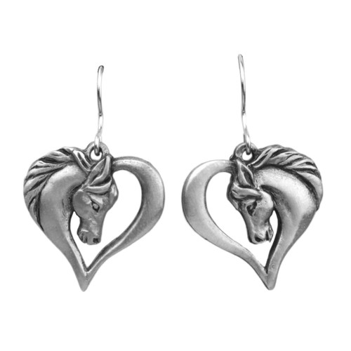 Horse Head Heart Fishhook Pewter Earrings 6648EFP