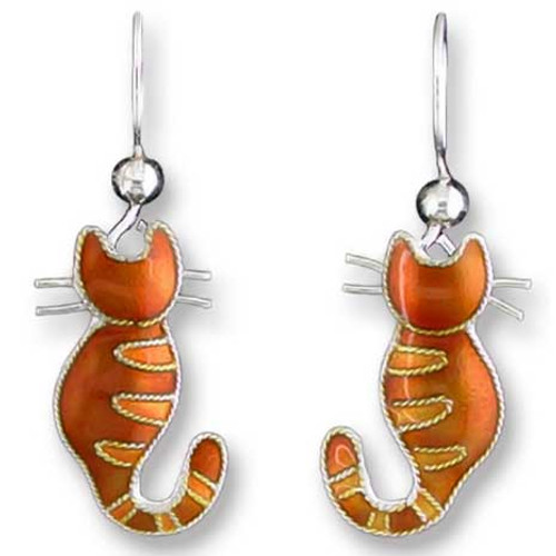 Kitty Cat Sterling Silver Drop Earrings 70-42-01