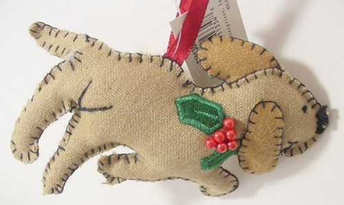 Dog Christmas Ornament Hand Stitched - Brown - 8601303B