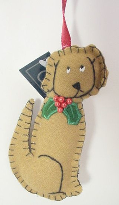 Dog Christmas Ornament Hand Stitched - Sitting Brown - 8601303SB