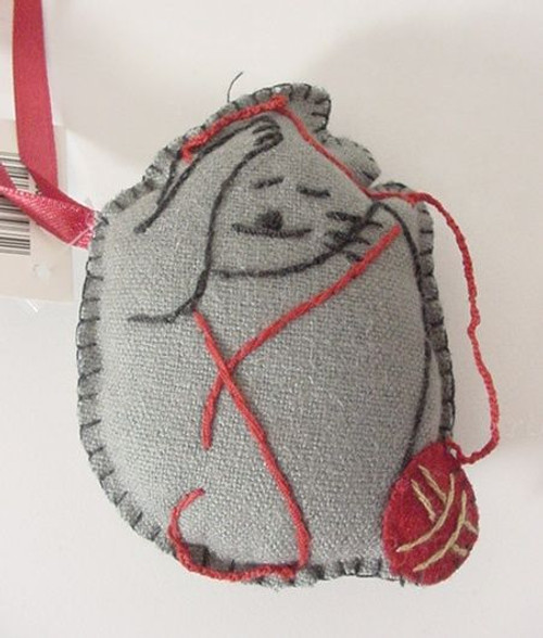 Cat Christmas Ornament Hand Stitched - Gray- 8601305G