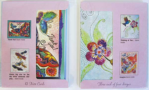Flights of Fancy Laurel Burch Note Cards - 12 cards 4 Designs ASN34674