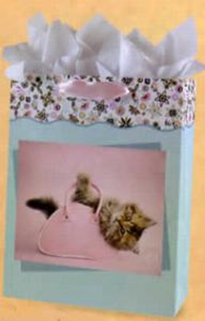 Cat Large Gift Bag w Tissue & CARD Art by Rachael Hale - BAG53041
