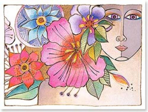"Laurel Burch Card Birthday - ""Blossoming Woman"" - BDG13803"