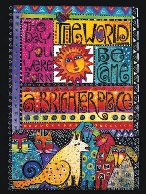 """Laurel Burch Card Birthday - """"A Brighter Place"""" Cats & Dogs - BDG44845"""