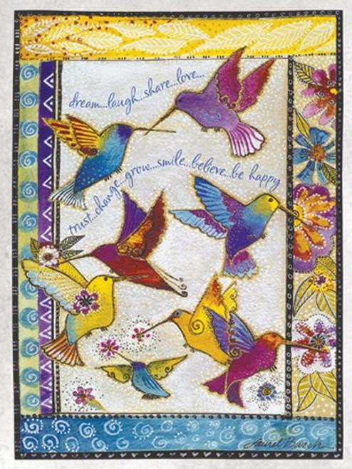 """Laurel Burch Card Birthday - """"Rainbow Hummingbirds"""" - BDG44846"""
