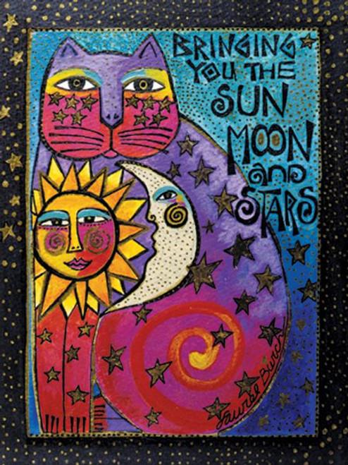 Laurel Burch Card Friendship Cat Sun Moon and Stars - FRG13247