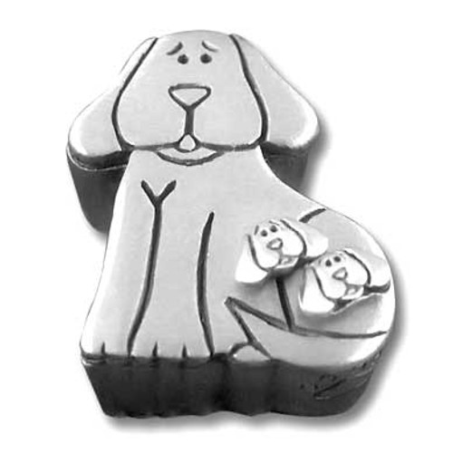 Pewter Dog Jewelry Box with Dog Post Earrings Pin Necklace JB173