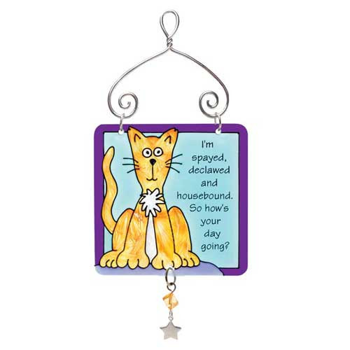 Scaredy Cat Mini Sun Catcher Sign JSW118