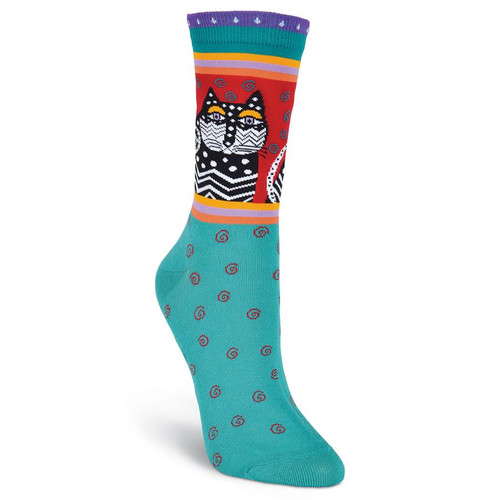 "Laurel Burch Socks ""Polka Dot Cats"" Turquoise LB1006-TUR"