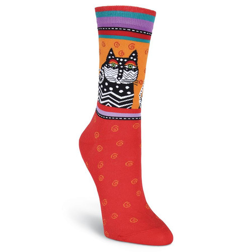 "Laurel Burch Socks ""Polka Dot Cats"" -RED- LB1006R"