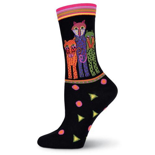 """Laurel Burch Socks """"Polka Dot Leopards"""" Cat BLACK - LB1055BK"""