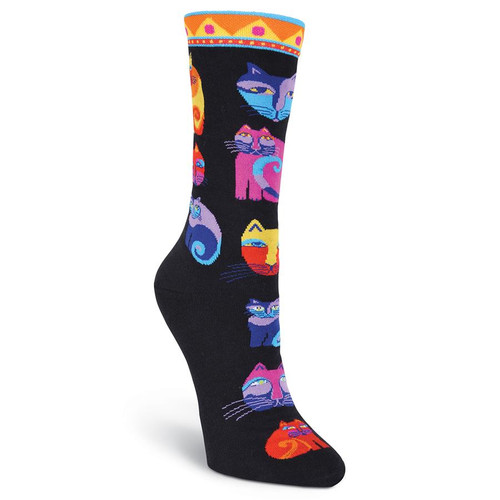 "Laurel Burch Socks ""Feline Festival"" Cat Black - LB1056BK"