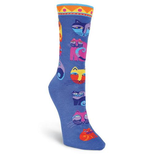 "Laurel Burch Socks ""Feline Festival"" Cat Blue - LB1056BL"