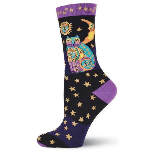"Laurel Burch Socks ""Celestial Cat"" Black - LB1073BK"