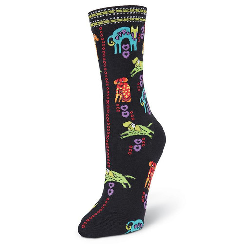 "Laurel Burch Socks ""Dog Portraits"" BLACK - LB1086BK"