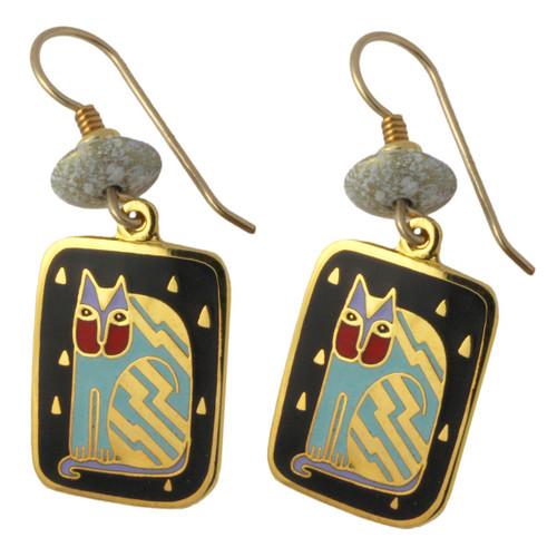 """Laurel Burch """"Fantasticat"""" Cat Drop Enamel Earrings - LB108B"""