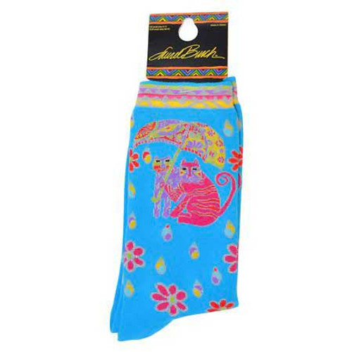 "Laurel Burch Socks ""Fairweather Friends"" Turquoise - LB1099T"