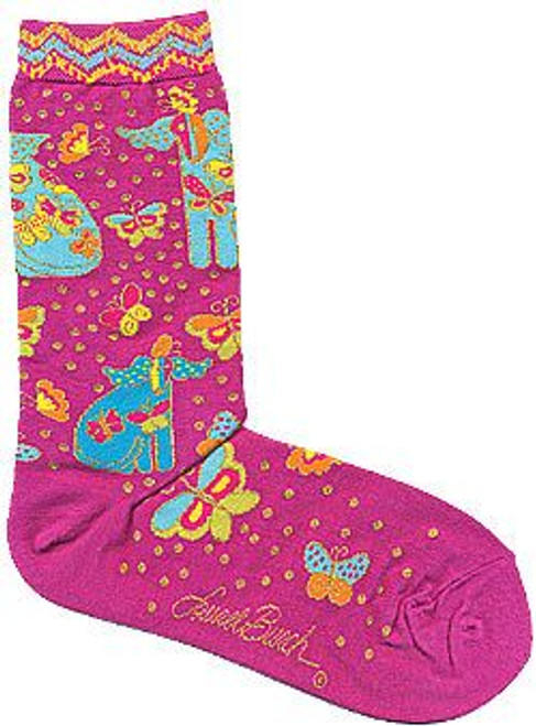 "Laurel Burch Socks ""Dog with Papillion"" Fuchsia - LB1101F"