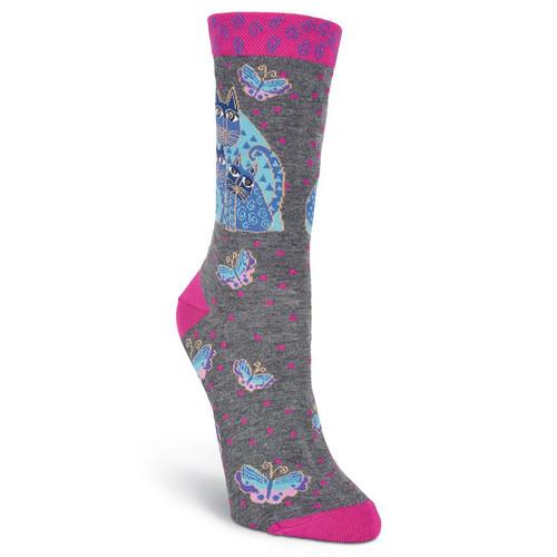 """Laurel Burch Socks """"Indigo Cats"""" Gray- LB1103G"""