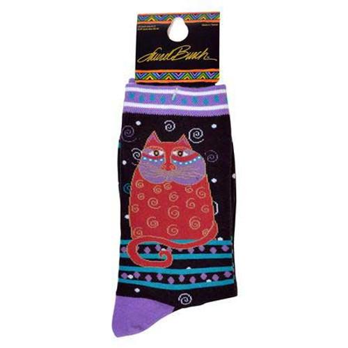 "Laurel Burch Socks ""Crimson Cat"" Black - LB1104B"