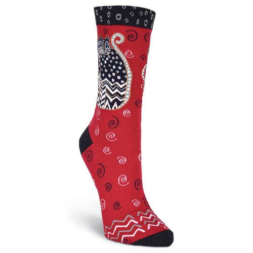 "Laurel Burch Socks  ""Polka Dot Gatos"" Red - LB1105R"