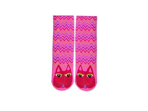 Laurel Burch Slipper Socks - Fuchsia Cat - LB1110