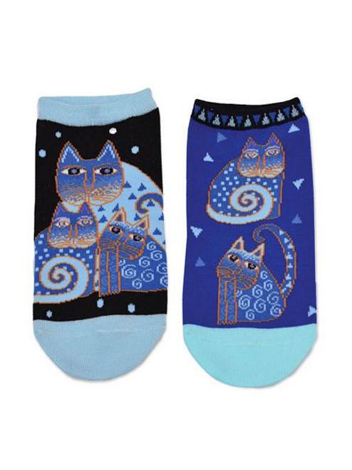 Laurel Burch Short Socks 2 Pair Pack - Indigo Cats - LB1112-2