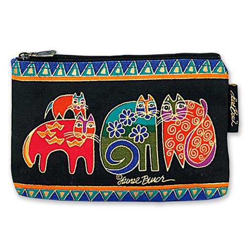 "Laurel Burch Cotton Canvas Cosmetic Bag ""Tasai Cats"" - LB2090F"
